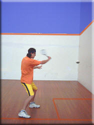 Backhand stop volley backswing