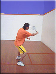 Shoulder height volley on the backhand