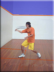 Volley shoulder height forehand