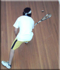 Get down low and get the racket under the ball for an effective lob/toss.